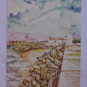 Praia da Senhora da Guia - postal / aguarela