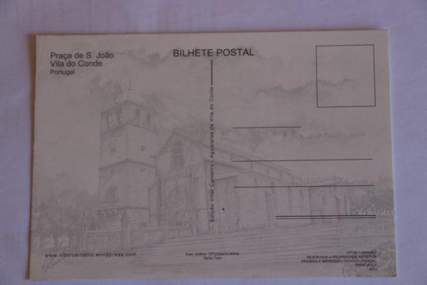 Praça de São João - postal / aguarela - verso