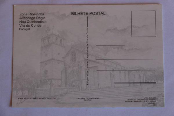 Zona Ribeirinha / Alfândega / Nau - postal / aguarela - verso
