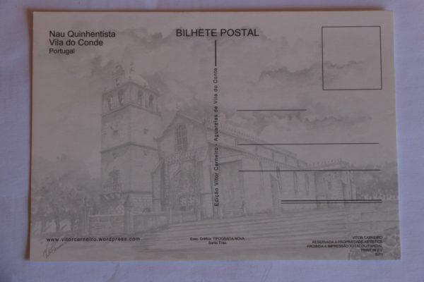 Nau Quinhentista - postal / aguarela - verso