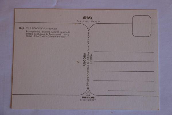 Pormenor do Posto de Turismo na cidade - postal - verso