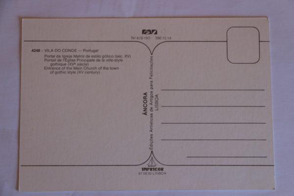 Portal da Igreja Matriz de estilo gótico (séc. XV) - postal - verso