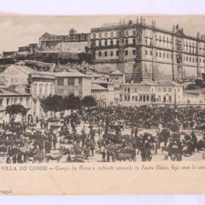 Villa do Conde - Campo da Feira e extincto convento de Santa Clara, hoje casa de correcção - postal