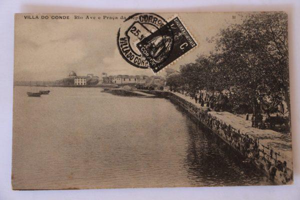 Villa do Conde - Rio Ave e Praça da República - postal