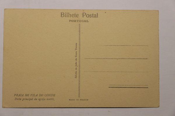 Porta principal da Egreja Matriz - postal - verso