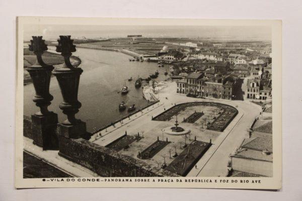 Panorama sobre a Praça da República e foz do Rio Ave - postal