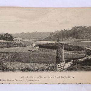Villa do Conde - Vista e Ponte do Caminho de Ferro - postal