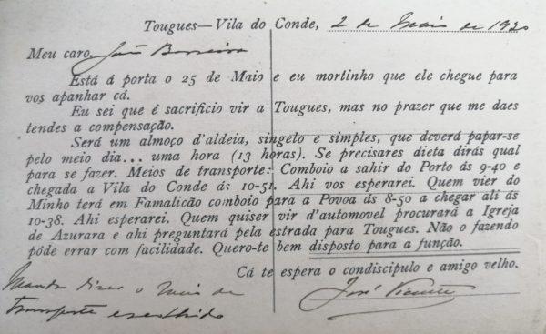 Restaurante de Tougues - convite - verso - 1920